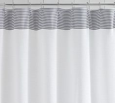 curtain shower black and Striped white
