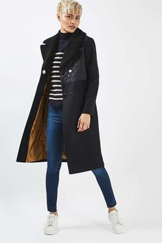 Quilted Borg Hybrid Wool Coat - Jackets & Coats - Clothing - Topshop USA