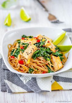 This sesame garlic soba noodles and spinach stir fry with sweet and lemony coconut-lime tofu is perfect to start meatless Monday fit and healthy. In just 15 minutes from kitchen to dinner tables, t...