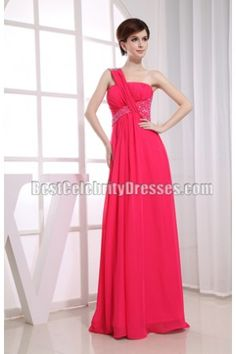 New Style One Shoulder Beaded Long Formal Dress Bridesmaid Gowns
