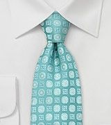 Floral Silk Tie in Cyan-Blue