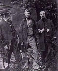 William Bell Scott (left), John Ruskin and Rossetti