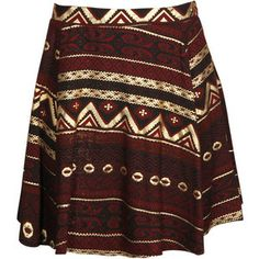 gold aztec print bordeux skater skirt