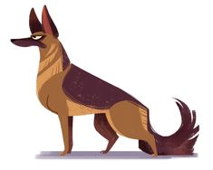 German Shepherd (Dog Week, day ITS DOG WEEK! Shaking things up for the next couple days and switching from cats to dogs! Needed a little break from drawing kitties so I'm trying something different. The cats will be back soon, but until then. Dog Illustration, Character Illustration, Animal Sketches, Animal Drawings, Animal Design, Dog Design, Arte Equina, Posca Art, Cartoon Dog