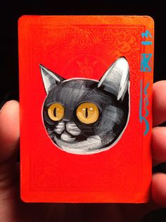 Cat Illustration portrait on a playing cards. Original acrylic painting. 2013 on Etsy, $12.00