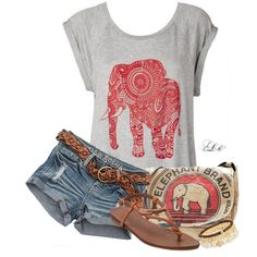 ☮ American Hippie Bohemian Boho Style ~ Elephant Festival Summer Outfit