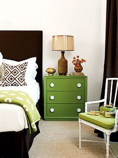 Master Bedroom Idea. Green and brown scheme.  Two things I particularly like about this.  1) Definite style to it without having to paint the walls.  2) Marty likes it.