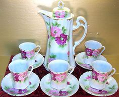 Vintage Pink Roses Hand Painted Chocolate Pot Set