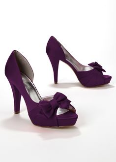 Satin Peep Toe Platform High Heel with Bow - Maribelle plum $49