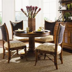 Shop for the Tommy Bahama Home Island Estate 5 Piece Dining Cayman Table & Mangrove Side Chairs Set at Belfort Furniture - Your Washington DC, Northern Virginia, Maryland and Fairfax VA Furniture & Mattress Store Table Seating, Dining Table, Dining Rooms, Dining Chairs, West Indies Decor, Stools For Kitchen Island, Lexington Home, 5 Piece Dining Set, Dining Sets