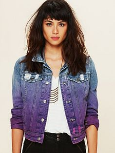 #DIY Ombre Wash Denim Jacket // Looking for ideas to update an old jean jacket...