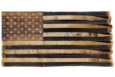 Large American Flag, Military Ranks, Flag Shop, Wooden Flag, Custom Flags, Bourbon Barrel, Rustic White, Black Felt, Woodworking