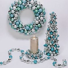 Tiffany Blue & Silver Ornament Tree, Wreath & Candle Ring