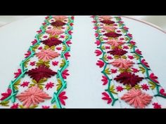 Embroidery Stitch - Feather Stitch with lazy daisy stitch. Hand Embroidery Dress, Hand Embroidery Projects, Hand Embroidery Videos, Blackwork Embroidery, Learn Embroidery, Hand Embroidery Stitches, Embroidery Techniques, Ribbon Embroidery, Embroidery Ideas