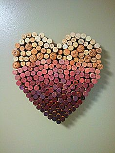 Wine Cork Heart - maybe not necessarily a heart but cork art would be a great way to use up some of the corks we will have left over from our wedding