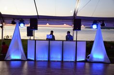 DJ Facade with LED lighting effects and speaker stand scrim.  Universal Light and Sound rental@ulsnyc.com