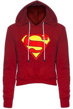 Stylish Hooded Long Sleeve Color Block Women's Superman Fleece Cropped Hoodie