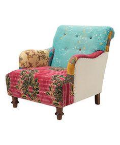 Look what I found on #zulily! Pink & Aqua Kantha Quilt Armchair by ACG Green Group #zulilyfinds