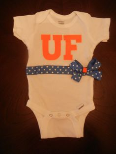 Love this Gator baby onsies  Baby UF Onesie with Matching Ribbon by Withjustalittlegrace, $12.00