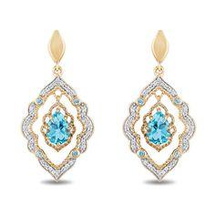 Enchanted Disney Aladdin Pear-Shaped Swiss Blue Topaz and CT. Diamond Arabesque Frame Earrings in Gold Enchanted Disney Fine Jewelry, Disney Enchanted, Luxury Jewelry, Custom Jewelry, Boho Jewelry, Jewelry Box, Jewelery, Silver Jewelry, Jewelry Design