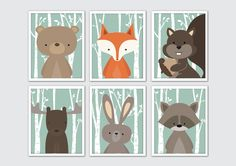 Woodland Animals Nursery Art, Woodland Nursery Prints, Woodland Themed Nursery, Woodland Nursery, Woodland Creatures Baby Shower, Green Mint - perfect addition to your nursery decor! Frames not included.  ▶ ITEM DETAILS Many print sizes available, choose size from the drop down menu. The listing features the prints in most standard sizes, however, if you need a custom size, please send a convo and I will quote you a price. • Prints are printed on high end printers with top quality archival…