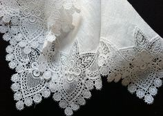 One of a kind vintage wedding hankie Exceptional Details Vintage French Lace Wedding Handkerchief Hearts Swirls