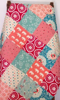Baby Girl Quilt Reversible Baby Blanket Rapture Coral by CoolSpool