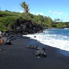 #Maui black sand beach