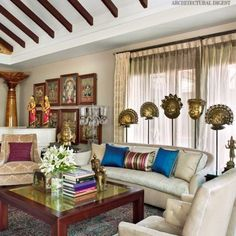 Interesting Indian Home – House The Culture Indian Living Rooms, Living Room Modern, Living Room Designs, Living Room Decor, Indian Interior Design, Modern Interior, Home Decor Hooks, Drawing Room Interior, Indian Interiors