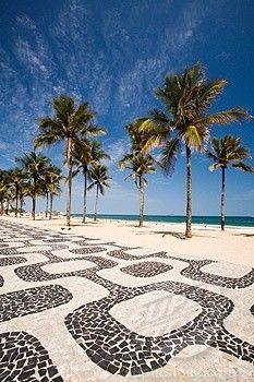 Ipanema Beach, Rio de Janeiro, Brasil ~ love the pathway. #travel #South #America