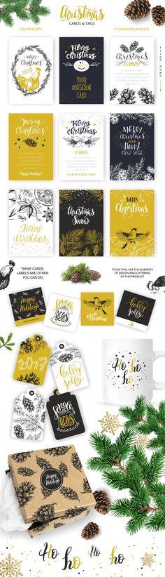 Christmas lettering & design element by OlgaAlekseenko on @creativemarket