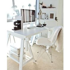 """Amazon.com - Ikea Linnmon White Desk Table 59x30"""" with 2 Trestle Shelf Legs Height and Angle Adjustable, Drawing Table -"""