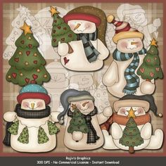Snowmen Love Trees Clip Art & Digi Stamps by Rajiv's Graphics