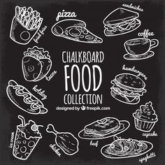 Food collection in chalkboard style Free Vector Food Font, White Wooden Floor, Restaurant Menu Template, Menu Boards, Chalk Drawings, Chalkboard Art, Chalk Menu, Food Drawing, Blackboards