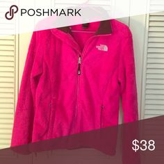 Pink North face Excellent condition. Brown collar North Face Tops Sweatshirts & Hoodies