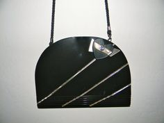 VIntage handbag Lucite and leather  shiny dark by FeliceSereno, $105.00
