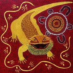Aboriginal artist's depiction of a lizard found in the Australian desert . When threatened it squeaks and raises the ruff around its neck , terrifying no one ! Indigenous Australian Art, Indigenous Art, Aboriginal Art Dot Painting, Maori Art, Art Nouveau, Art Deco, Hand Art, Native Art, Online Art