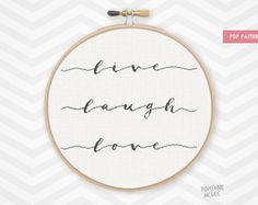 LIVE LAUGH LOVE counted cross stitch pattern, modern house warming word quote gift, nursery decor xstitch, easy beginner needlepoint diy pdf