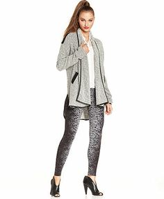 Bar III Sweater, Long-Sleeve Marled High-Low Cardigan