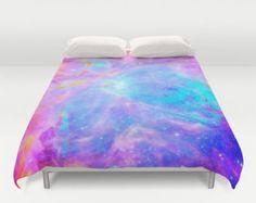 Galaxy Duvet Cover, Pink Blue Lavender Orion Nebula Duvet, Galaxy Print, Space Duvet, Bedroom Decor, Dorm Decor, Queen Duvet , King Duvet