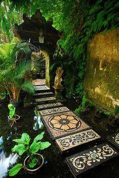 "to the shrine, Bali / Indonesia (by Ahmad. ""Path to the shrine, Bali / Indonesia (by Ahmad Syukaery).""""Path to the shrine, Bali / Indonesia (by Ahmad Syukaery). Beautiful World, Beautiful Places, Unique Garden, Outdoor Zen Garden Diy, Natural Garden, Path Design, Design Ideas, Zen Garden Design, Japanese Garden Design"