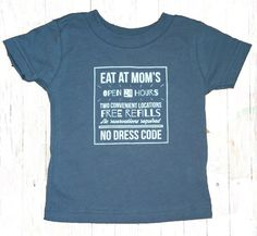 Eat At Mom's Baby/Toddler T-Shirt {Charcoal} - $17.99 ($1 goes to breastfeeding charity) - Sizes 12M, 18M, 2 & 3. www.milkandbaby.com