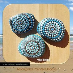 Decorative Rocks Ideas : Painted Stone Aboriginal Dot Art Painted rock Acrylic Painting blue decor ornament or paper weight Pebble Painting, Dot Painting, Pebble Art, Stone Painting, Mandala Painting, Stone Crafts, Rock Crafts, Aboriginal Dot Art, Art Pierre