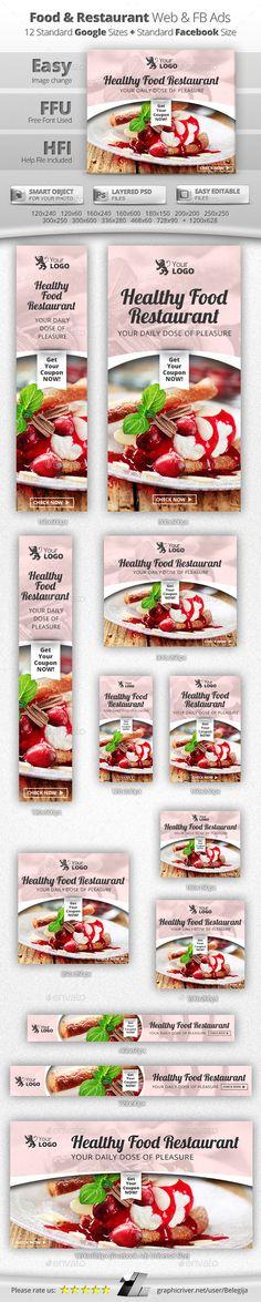 Food & Restaurant Web & Facebook Banners #design Download: http://graphicriver.net/item/food-restaurant-web-facebook-banners/11525429?ref=ksioks