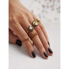 SheIn(sheinside) Multi Shaped Ring Set 4pcs ($4) ❤ liked on Polyvore featuring jewelry, rings, gold, set rings, vintage rings, vintage jewellery, round ring and vintage jewelry