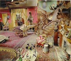 This is what the set of the original black & white Addams Family TV show set looked like in color.