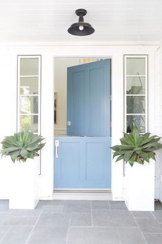 Blue Front Door Color Thousand Oceans by Benjamin Moore Blue Front Door Front Door Paint Colors, Painted Front Doors, Blue Front Doors, Paint Colours, Beach Style Front Doors, Entrance Design, Door Design, Exterior Doors, Exterior Paint
