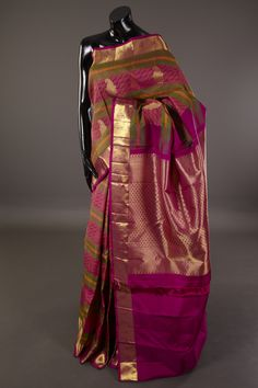 In a rich hue, this silk saree from Mysore Saree Udyog is great for meeting truly traditional looks. Add simple gold toned jewellery and embellished sandals for a cultural experience. Buy it online – mysoresareeudyog.com  Product Code: 2664032