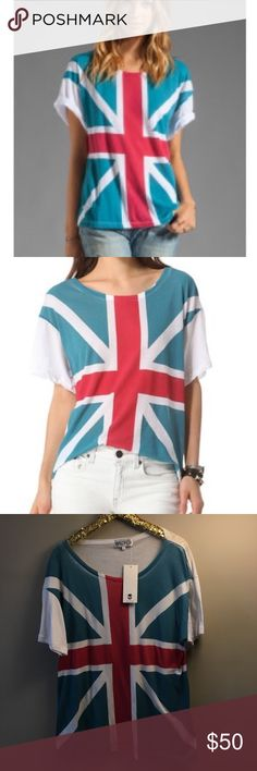 """Wildfox Union Jack Tee WildFox Unisex Union Jack Tee Shirt.Fun And Funky WildFox Union Jack Tee.Big Bold Union Jack Flag Covers The Front And The Back Is Solid White.Very Oversized Fit.This Is A Size 2 which Means in Wildfox Sizing it is M/L. Approx Measurements:Bust-23"""" Across/Length-28""""Fits like an  X-Large BestFabric: 50% Cotton/50% Polyester.Slight Fade To Graphic Which Gives It A Cool Vintage Appeal Wildfox Tops Tees - Short Sleeve"""