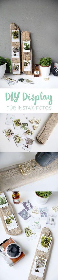 Kreative DIY Idee zum Selbermachen: DIY Foto-Display aus Treibholz basteln mit Instax Sofortbildern